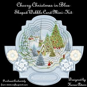 Cheery Christmas in Blue - Shaped Wobble Card Mini-kit