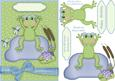 Birthday Frog - Girl Card Front and Step by Step