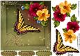 """Petunia Butterfly 7"""" Card Front with Step by Step"""