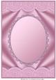 Pink Scallop Edged Oval Aperture Card Front