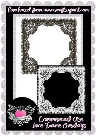 Commercial Use Black & White Lace Frame Overlay 1