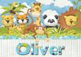 Oliver Jungle Animals Personalised Childrens Name Picture
