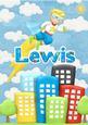 Lewis Superhero Personalised Childrens Name Picture