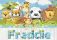 Freddie Jungle Animals Personalised Childrens Name Picture