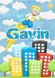 Gavin Superhero Childrens Personalised Name Picture