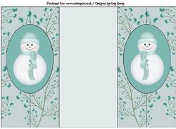 Cute Christmas Snowman in Blue Double Foldback Card