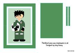 Motor Racer in Green Flip Card Sheet