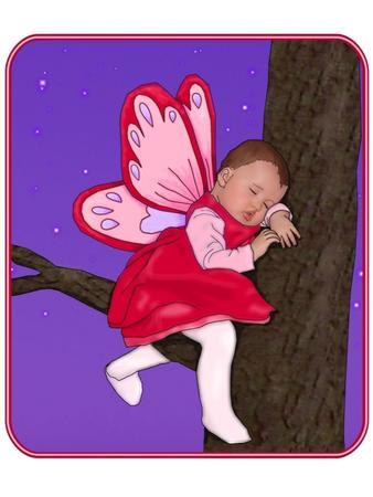 Sleeping Baby Fairy in a Tree Original Art