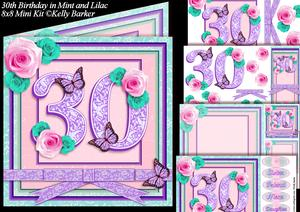 30th Birthday in Mint and Lilac 8x8 Square Mini Kit