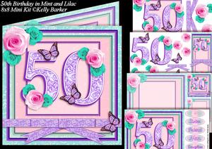 50th Birthday in Mint and Lilac 8x8 Square Mini Kit
