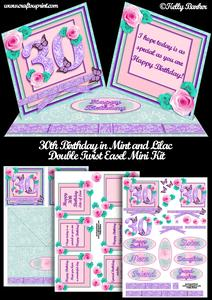 30th Birthday in Mint and Lilac Double Twist Easel Mini Kit