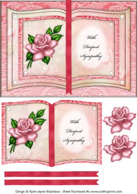 Pink Rose - with Deepest Sympathy - Book Sheet