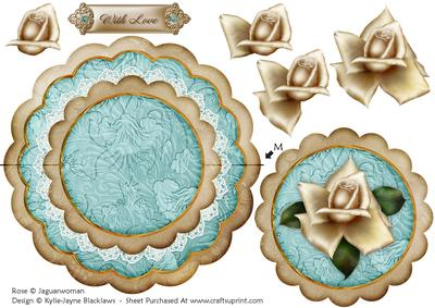 Cream Teal Rose with Love - Scallop Edge Wobble Card