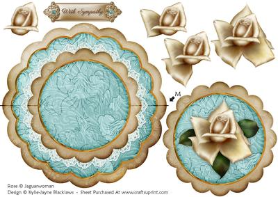 Cream Teal Rose with Sympathy - Scallop Edge Wobble Card