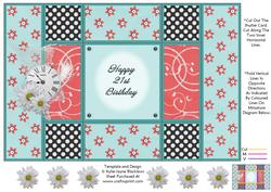 Aqua and Peach - 21st Birthday - Tri Shutter Card
