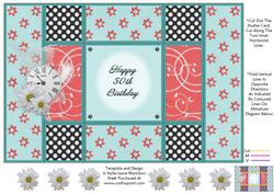 Aqua and Peach - 50th Birthday - Tri Shutter Card