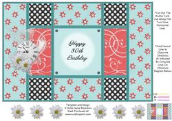 Aqua and Peach - 80th Birthday - Tri Shutter Card