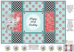 Aqua and Peach - 90th Birthday - Tri Shutter Card