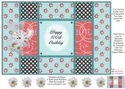 Aqua and Peach - 100th Birthday - Tri Shutter Card