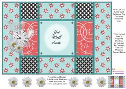 Aqua and Peach - Get Well Soon - Tri Shutter Card