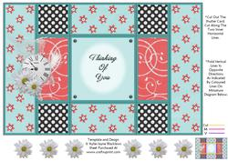 Aqua and Peach - Thinking of You - Tri Shutter Card