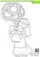 Pot of Sunflower Doodles Digital Stamp