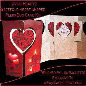 Loving Hearts - Gatefold Heart Shaped Peekaboo Card Kit