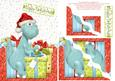 Dinosaur Christmas A5 Wavy Corner Stacker Card