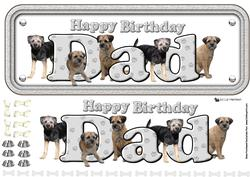 Dad & Border Terriers Name Sign 3D Decoupage