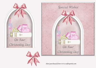 Bootees & Bible Christening Card