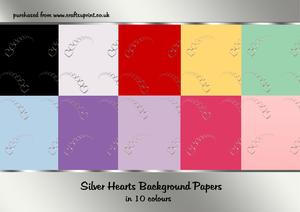 Silver Hearts Backing Papers