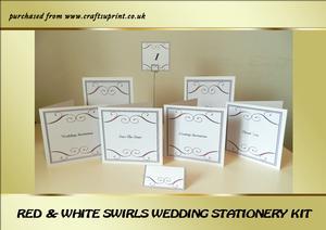 Red & White Swirls Wedding Stationery Kit