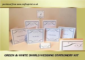 Green & White Swirls Wedding Stationery Kit