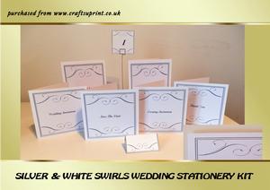 Silver & White Swirls Wedding Stationery Kit