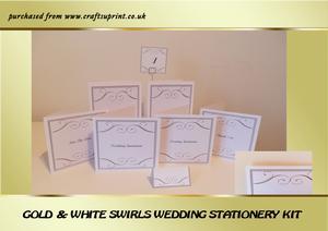 Gold & White Swirls Wedding Stationery Kit