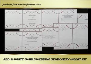 Red & White Swirls Wedding Stationery Inserts Kit