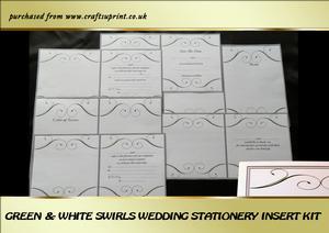 Green & White Swirls Wedding Stationery Inserts Kit
