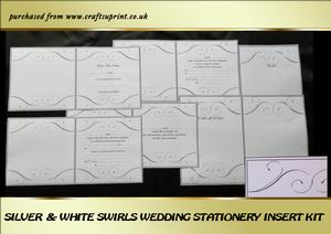 Silver & White Swirls Wedding Stationery Inserts Kit