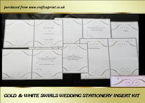 Gold & White Swirls Wedding Stationery Inserts Kit