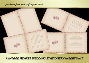 Vintage Hearts Wedding Stationery Inserts Kit