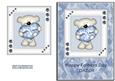 Blue & White Heart Bear - Daddy Fathers Day