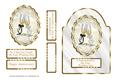White & Gold Dome Shaped Card Front - Champagne Glasses & Ri