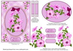 Pink Petunias Spinner Card with Decoupage
