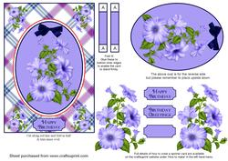 Blue Petunias Spinner Card with Decoupage