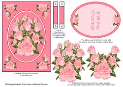 Pink Roses Spinner Card with Decoupage