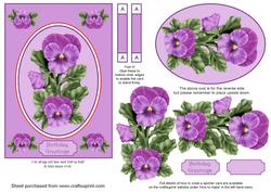 Purple Pansies Spinner Card with Decoupage