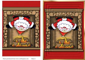 A5 Santa in the Chimney Pyramid Card Front