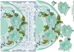 Aqua Roses and Lace Card Topper