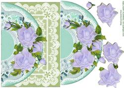 Lavender Roses and Lace Card Topper
