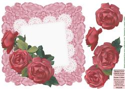 Dusty Pink Battenburg Roses Card Front